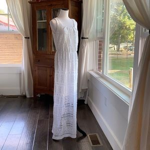 AGB White Lace Maxi Dress, Size 6